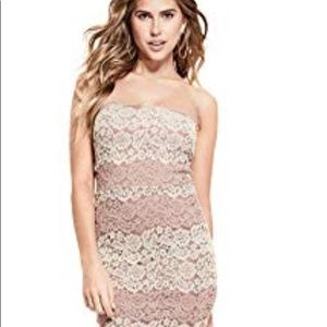 G By GUESS NWT MIDI LACE STRAPLESS DRESS